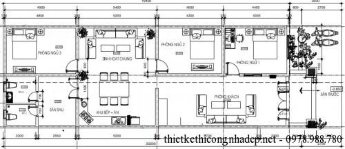 mặt bằng tầng 1 nhà cấp 4 7x20m
