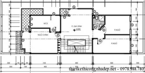 mặt bằng tầng 2 biệt thự song lập 6x17m