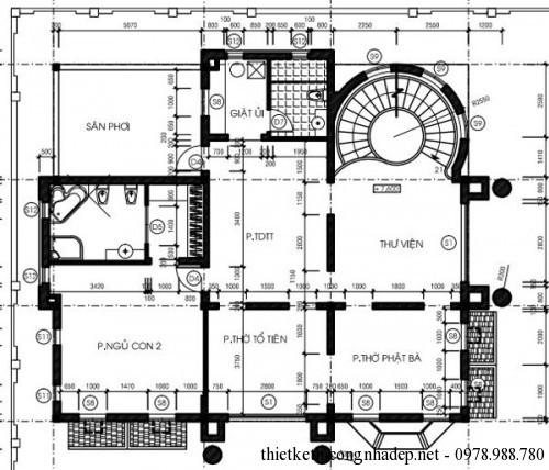 mặt bằng tầng 3 biệt thự