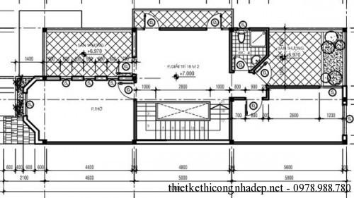 mặt bằng tầng 3 biệt thự song lập 6x17m
