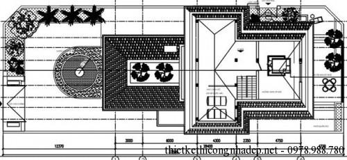 mặt bằng tầng áp mái biệt thự vườn 11x20.5m