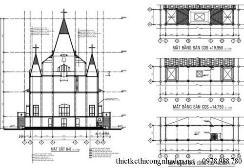mặt cắt nhà thờ thiên chúa giáo