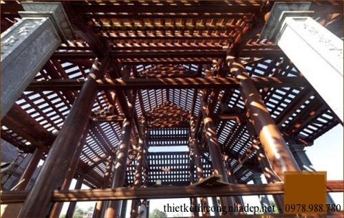 phần vì kèo,khung gỗ của nhà thờ họ 2 tầng