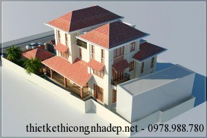 Thiết kế biệt thự nhà vườn 4 tầng mái thái độc đáo 11x15m