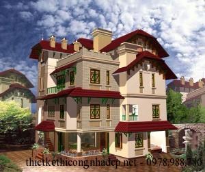 Thiết kế biệt thự 3 tầng cổ điển kiểu Pháp 10x11m