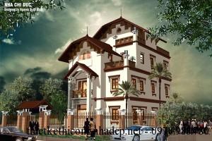 Mẫu thiết kế nhà biệt thự 3 tầng mái thái đẹp 8.5x12m