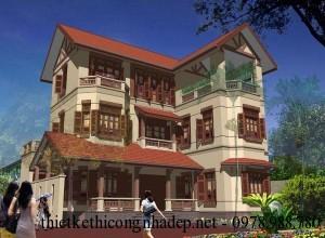 Bản vẽ thiết kế biệt thự vườn 3 tầng mái thái đẹp 12×12.5m