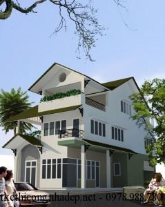 Mẫu nhà biệt thự phố đẹp hiện đại 3 tầng 8.5x17m