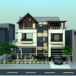 Mẫu thiết kế biệt thự 3 tầng mái thái 3 tầng 2 mặt tiền 12×12.5m