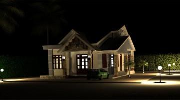 Kiến trúc nhà cấp 4 đẹp ban đêm góc 2