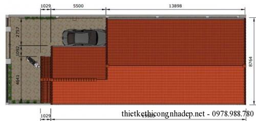 Mặt bằng mái nhà cấp 4 7.8x18m