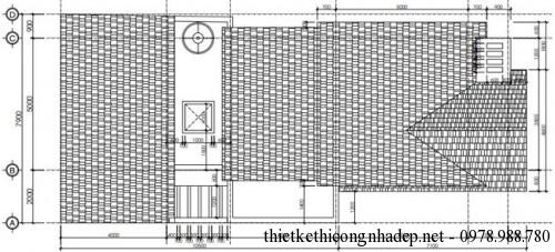 Mặt bằng mái nhà cấp 4 8x17m