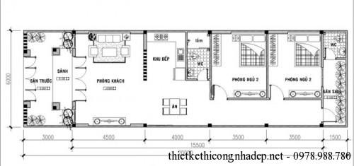 Mặt bằng nhà cấp 4 6x20m