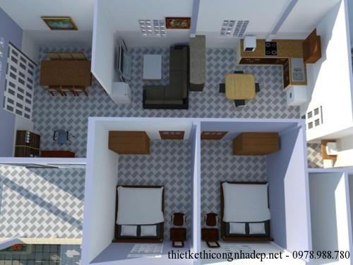 Mặt bằng bố trí nội thất nhà cấp 4 8x12m