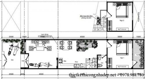 Mặt bằng nội thất nhà cấp 4 diện tích 4x19m