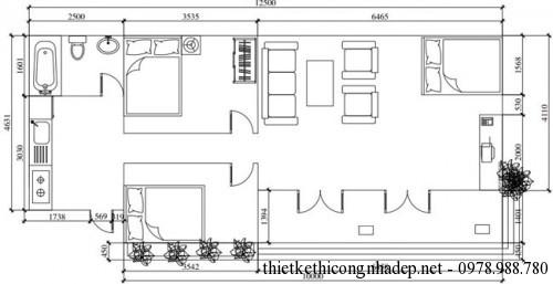 mặt bằng bố trí nội thất phương án 2