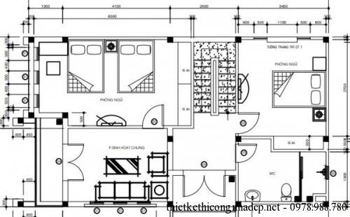 Mặt bằng tầng 2 biệt thự 2 tầng 6.5x11.5m