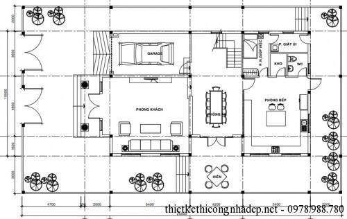 Mặt bằng tầng 1 biệt thự 3 tầng 10x18m