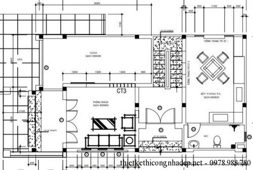 Mặt bằng tầng 1 biệt thự 2 tầng 6.5x11.5m