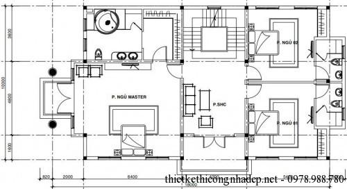 Mặt bằng tầng 2 biệt thự 3 tầng 10x18m