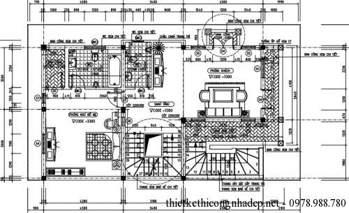 Mặt bằng tầng 2 biệt thự 4 tầng 8x15m