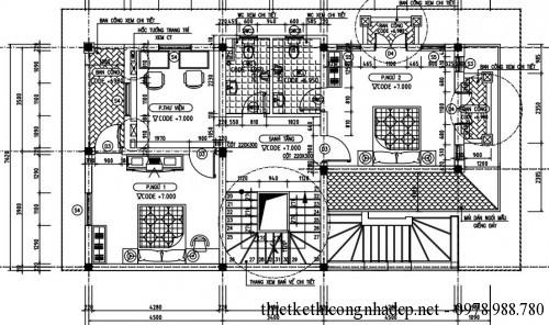 Mặt bằng tầng 3 biệt thự 4 tầng 8x15m