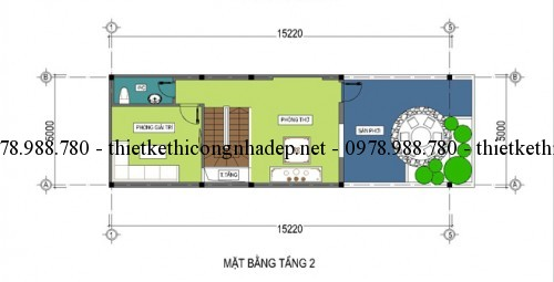 Mặt bằng tầng tum nhà phố 2.5 tầng 5x18m