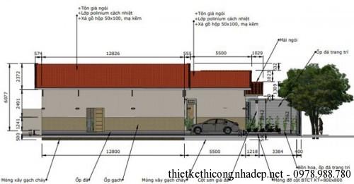 Mặt bên mái nhà cấp 4 7.8x18m