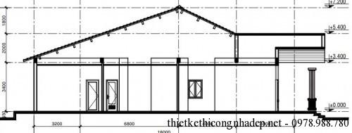 Mặt bên nhà cấp 4 8x18m