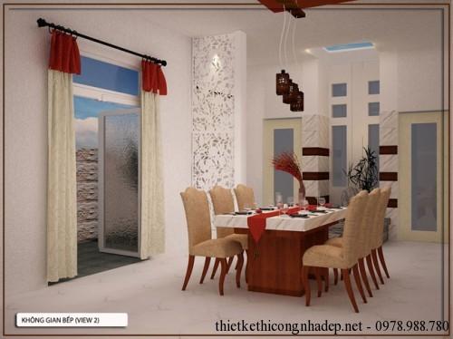 Thiết kế nội thất phòng bếp nhà cấp 4 8x17m