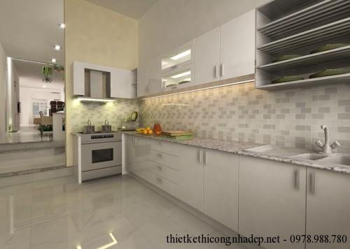 Nội thất phòng bếp nhà cấp 4 6x23m