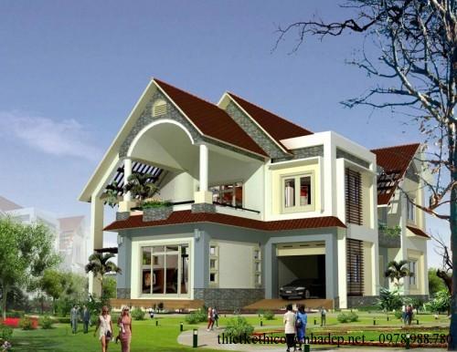 Bản vẽ thiết kế mẫu biệt thự nhà 2 tầng mái thái 12x20m