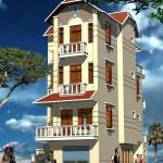 Bản vẽ thiết kế nhà biệt thự 4 tầng mái thái 8x15m