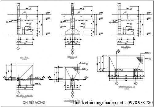 Chi tiết móng nhà cấp 4 4x14m