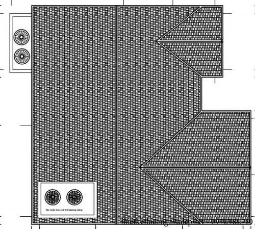 Mặt bằng mái nhà cấp 4 15x15m