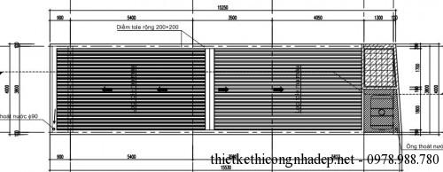 Mặt bằng mái nhà cấp 4 4 x14m