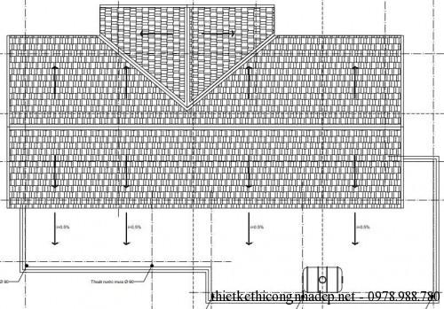 Mặt bằng mái nhà cấp 4 9x16m