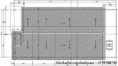 Mặt bằng mái nhà cấp 4 mái tôn 7.5x17m
