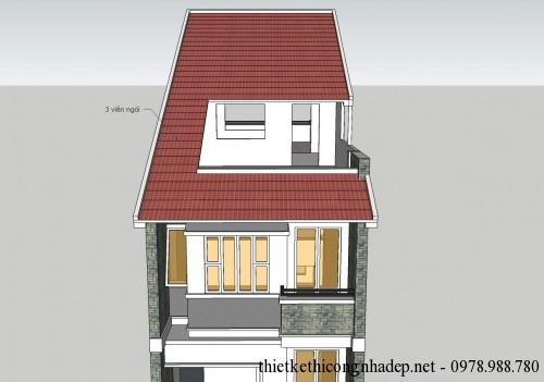 Mặt bằng mái nhà phố 3 tầng 5x18m