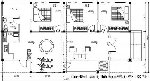 Mặt bằng nhà cấp 4 7.8x15m