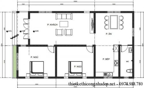 Mặt bằng nhà cấp 4 mái tôn 8.5x15m