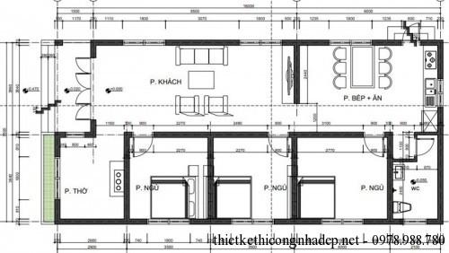 Mặt bằng nhà cấp 4 mái tôn 7.5x17m