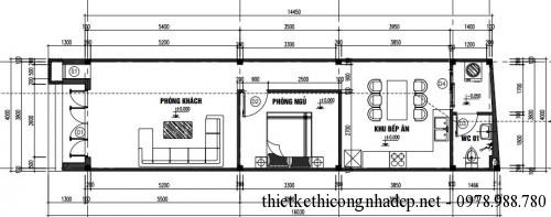 Mặt bằng nội thất nhà cấp 4 4 x14m