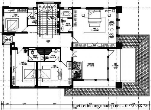 Mặt bằng tầng 2 biệt thự 3 tầng 14x23m