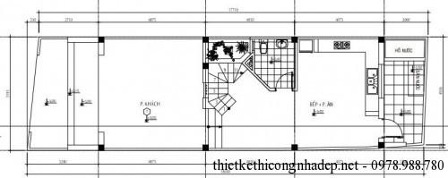 Mặt bằng tầng 1 nhà phố 3 tầng 5x18m