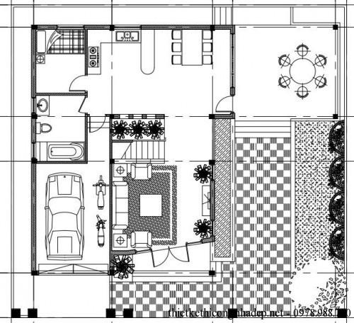 Mặt bằng tầng 1 nhà phố 3 tầng 9x11m