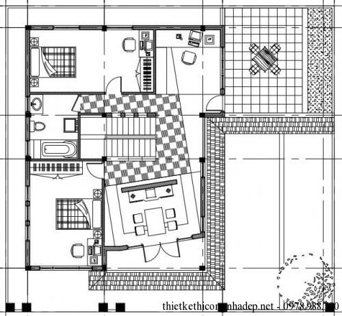 Mặt bằng tầng 2 nhà phố 3 tầng 9x11m