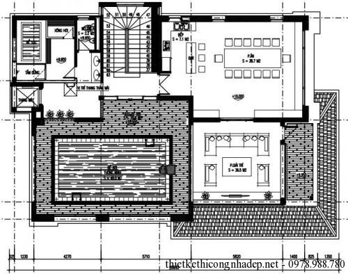 Mặt bằng tầng 3 biệt thự 3 tầng 14x23m