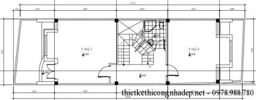 Mặt bằng tầng 3 nhà phố 3 tầng 5x18m