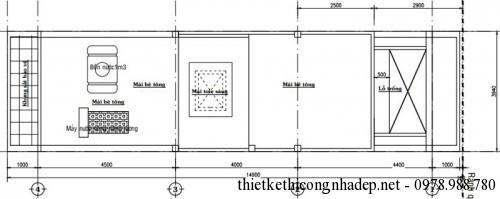 Mặt bằng tầng mái nhà phố 4 tầng 4x15m